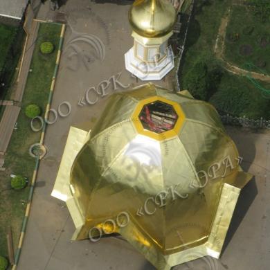 Новые купола и крест на Дивеевской колокольне