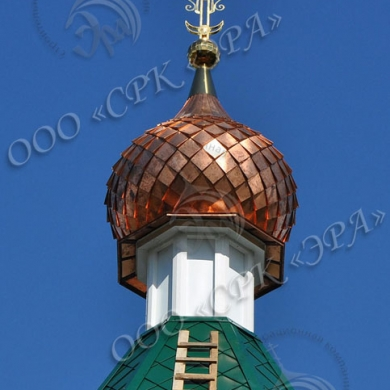 Установка креста и купола на восстановленную колокольню храма Рождества Богородицы, с. Радовицы
